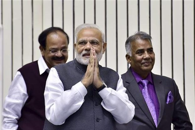 Prime Minister Narendra Modi was addressing the Press Council of India (PCI) on the occasion of National Press Day, which also marked PCI's 50th anniversary. Photo: AP