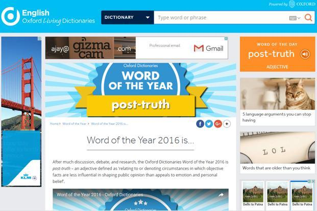 Post-truth outruns other words to be crowned word of the year by Oxford Dictionaries