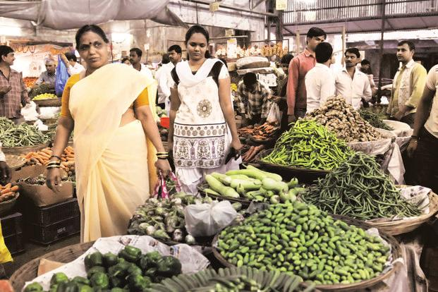 Arrival of farm produce, including fruits and vegetables, at APMC markets has declined since the ban on Rs500 and Rs1000 notes were announced. Photo: HT