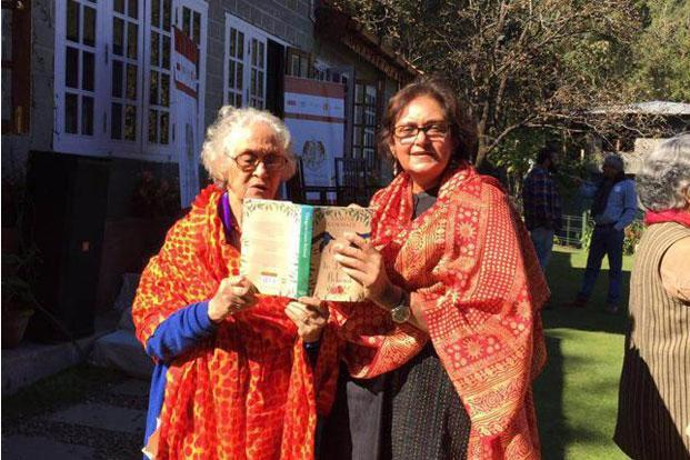 Namita Gokhale (right) with her mother, Neerja Pant, at her book launch in Nainital last month. Photo: Namita Gokhale