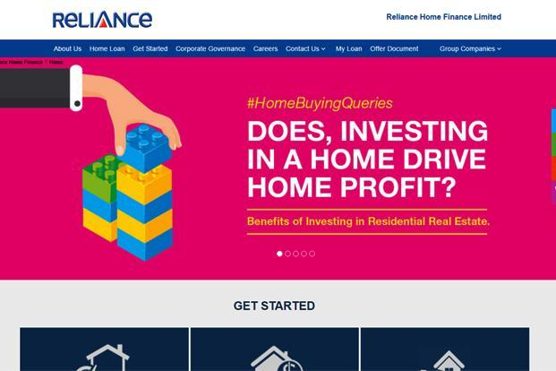 A screen grab of Reliance Home Finance website