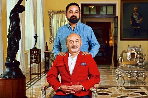 Christian Louboutin (in red) and  Sabyasachi. Photo: Pradeep Gaur/Mint