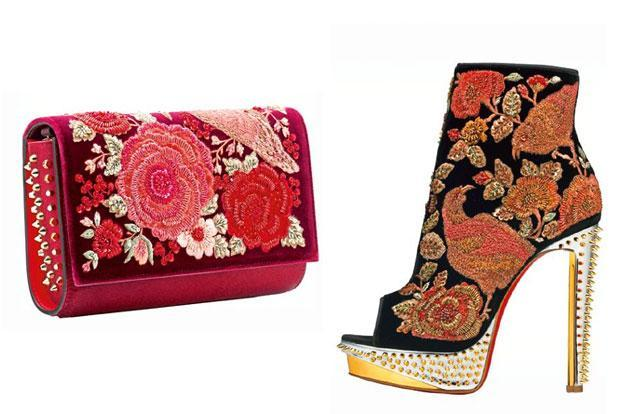 A clutch and a shoe from the Sabyasachi-Louboutin collection