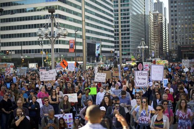 More than a thousand protesters demonstrate against President-elect Donald Trump at Thomas Paine Plaza on Saturday in Philadelphia, Pennsylvania. Photo: Mark Makela/Getty Images/AFP