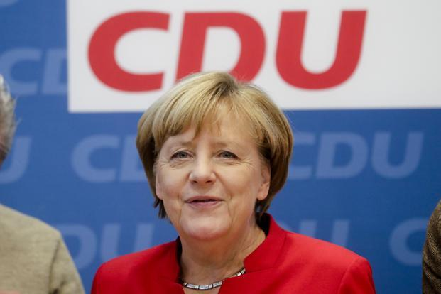 Angela Merkel revealed her decision to run again as party leader and seek a fourth term as German chancellor to a meeting of the CDU's executive board in Berlin on Sunday. Photo: AP