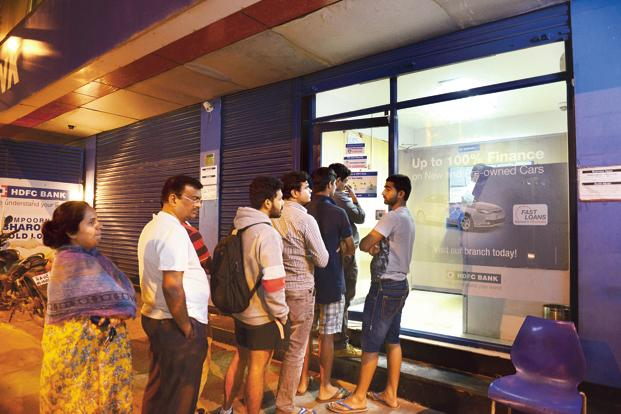Finance minister Arun Jaitley said the rush at bank branches has come down significantly and that there is absolutely no panic. Photo: Hemant Mishra/Mint