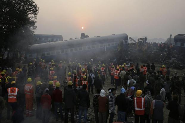 Rescue teams had finished their search for bodies buried in the 14 carriages that derailed in the early hours on Sunday. At least 142 died and over 200 were injured in the crash. AP