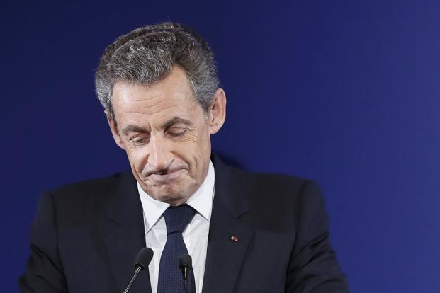 Nicolas Sarkozy, former French president and candidate for the French conservative presidential primary, at the party headquarters in Paris on Sunday. Photo: Reuters
