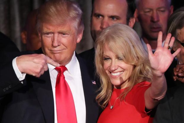 Republican president-elect Donald Trump along with his campaign manager Kellyanne Conway. Photo: AFP