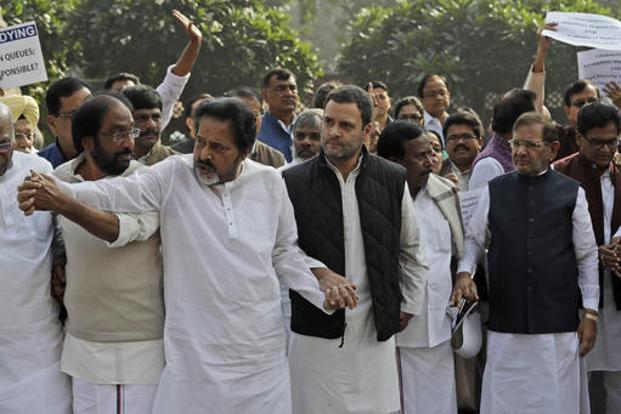 Opposition parties protest against demonetisation outside the Parliament  on Wednesday. Photo: AP