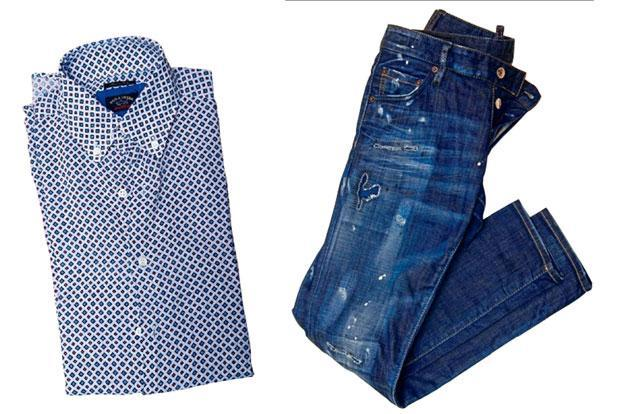 A Paul & Shark shirt (left) and Dsquared2 denims