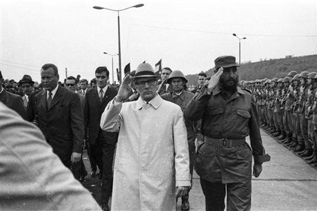 Castro, (right), reviews troops during his visit to Leuna, formerly the German Democratic Republic in this June 1972 picture. AP