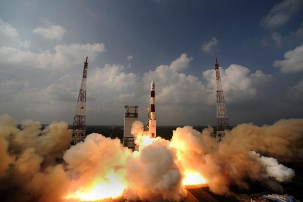 A file photo of ISRO's  PSLV-C25 carrying Mars Orbiter Spacecraft from the launch pad at Sriharikota in October 2013. Photo: AFP/Isro