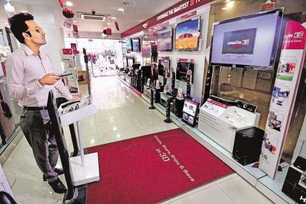 Sales at large retail chains like Croma, Vijay Sales and Bajaj Electronics have recovered faster, with manufacturers launching promotions. Photo: Pradeep Gaur/Mint