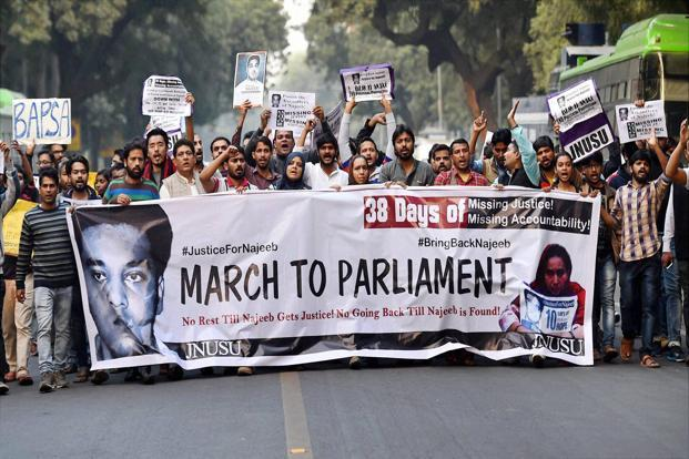 Missing Najeeb Ahmad's mother along with JNU students hold a protest march from Mandi House to Jantar Mantar in New Delhi. File photo: PTI