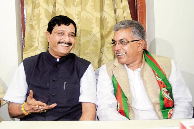 A file photo of West Bengal state BJP president Dilip Ghosh (right) with his predecessor, Rahul Sinha. Photo: Hindustan Times