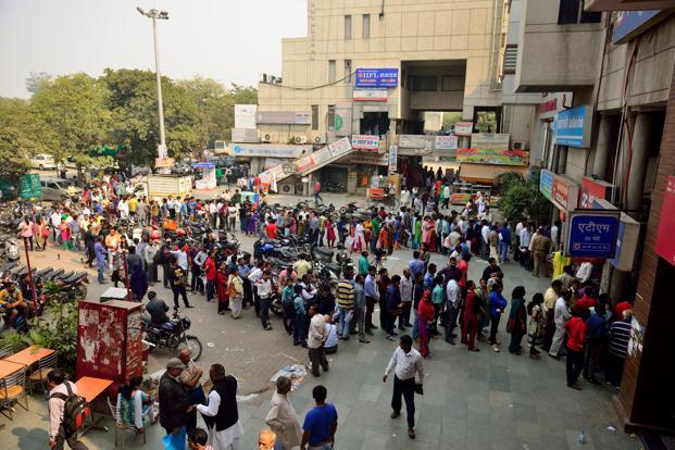Bankers feel that while crowd management is not their biggest worry, as exchanging old currency has now stopped at bank branches, the staff can focus on withdrawals. Photo: Pradeep Gaur/Mint