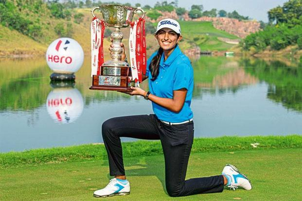 Aditi Ashok with the Indian Open trophy that she won in November. Photo: Hindustan Times