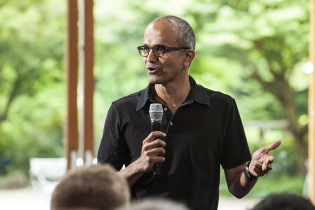 Satya Nadella has been ranked fifth among 50 global corporate heads by Fortune magazine in its annual 'Businessperson of the Year' compilation. Photo: Reuters