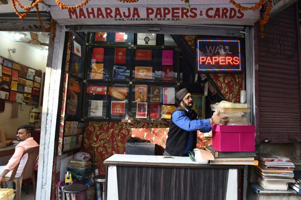 Madhur Jain, who runs a wedding card shop in Old Delhi, said he had received just three orders a week since the demonetisation, down from an average of 30. A file photo of wedding card shop in Chawri Bazar area of old Delhi: AFP
