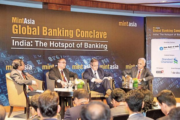 (From left) Tamal Bandyopadhyay, consulting editor, Mint, and adviser to Bandhan Bank; Dinesh Kumar Khara, managing director, State Bank of India; Julian van Kan, managing director, head of banks and intermediaries, Asia Pacific region, BNP Paribas; and Bharat Padmanabhan, managing director, regional head, Asean and South Asia, Standard Chartered Bank. Photo: Mint