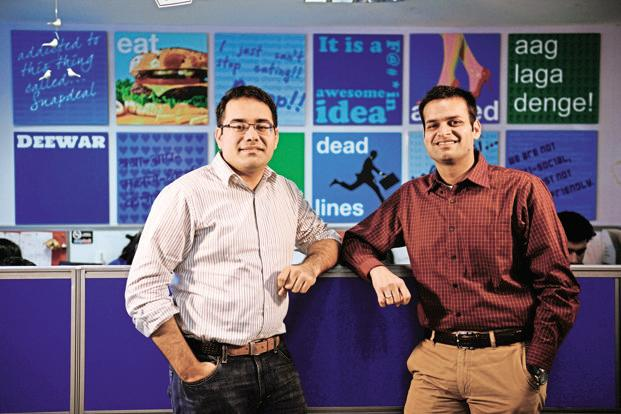 Snapdeal co-founders Kunal Bahl (left) and Rohit Bansal. Snapdeal investors include Softbank Group, Alibaba and Foxconn. Photo: Pradeep Gaur/Mint