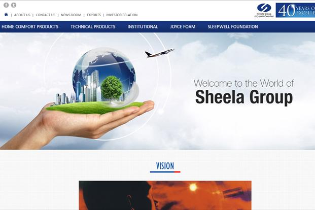 A screen grab of Sheela Foam website
