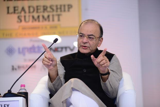 Union finance minister Arun Jaitley at the HT Leadership Summit in New Delhi.  Photo: Ramesh Pathania/Mint