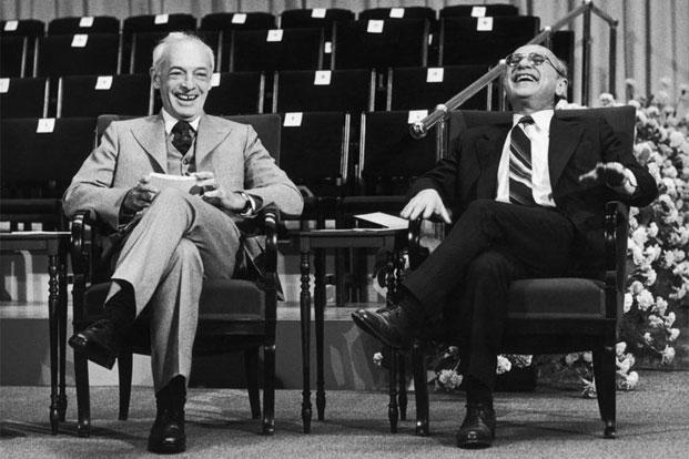 Saul Bellow (left) and Milton Friedman after winning the Nobel prize in literature and economics, respectively. Photo: Keystone/Hulton Archive/Getty Images