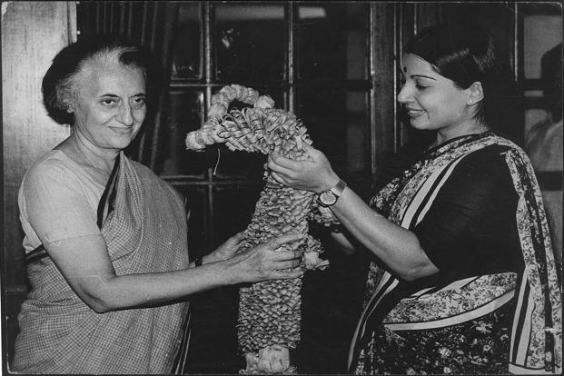 Jayalalithaa, the newly elected Rajya Sabha Member, with the then Prime Minister Indira Gandhi in Delhi on 21 April 1984. HT