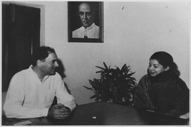 Jayalalitha with the then Prime Minister Rajiv Gandhi in New Delhi on 6 April 1989. PTI