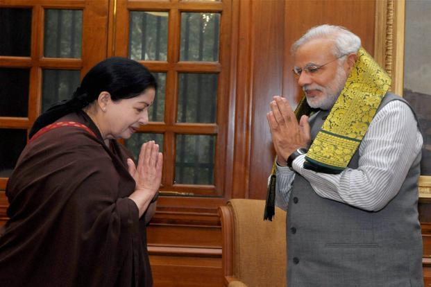 Jayalalithaa with Prime Minister Narendra Modi on 3 June 2014. PTI