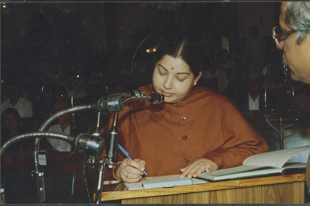 A file photo of former Tamil Nadu chief minister and AIADMK leader J. Jayalalithaa. Photo: Hindustan Times