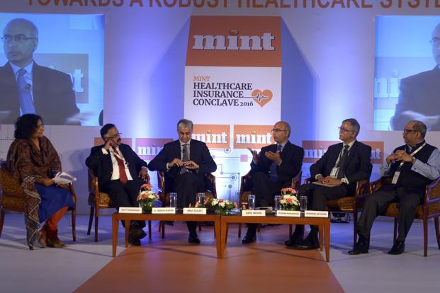 From right: Roopam Asthana, Liberty Videocon General Insurance; Pushan Mahapatra, SBI General Insurance; Kapil Mehta, SecureNow Insurance Broker; Anuj Gulati, Religare Health Insurance; K. Sanath Kumar, National Insurance; and Deepti Bhaskaran, insurance-editor, Mint Money                                                                                                                                              Abhijit Bhatlekar/Mint