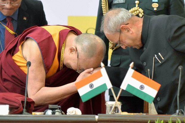 President Pranab Mukherjee with the Dalai Lama during the inaugural session of Laureates & Leaders Summit for Children at the Rashtrapati Bhavan on Saturday. Photo: PTI