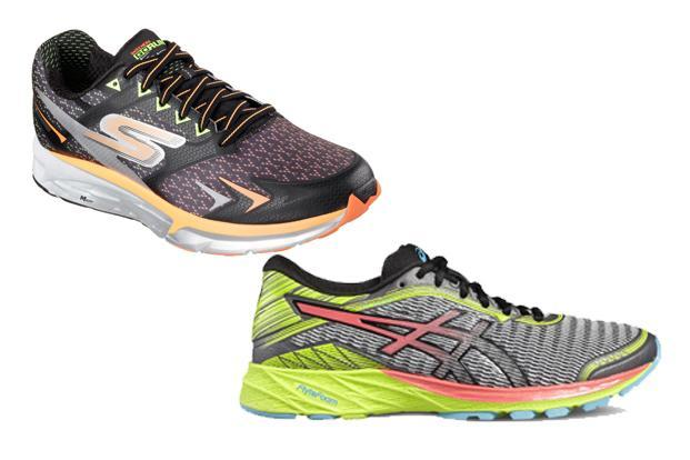 Asics DynaFlyte (right) and Skechers GOrun Forza.