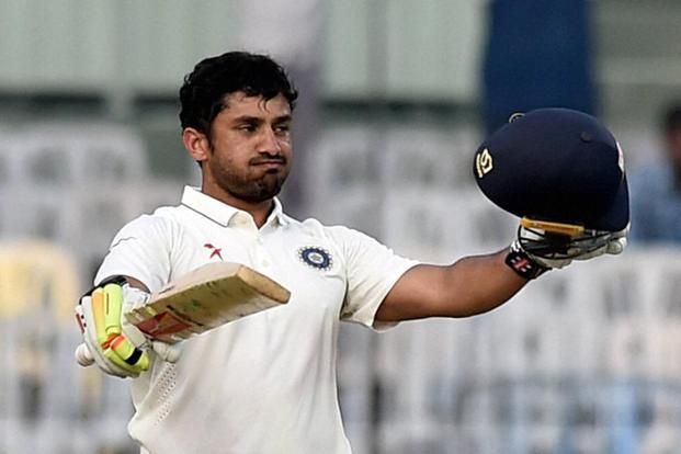 Karun Nair celebrates after scoring 300 runs during the fourth day of the fifth cricket test match against England at MAC Stadium in Chennai on Monday. Photo: PTI