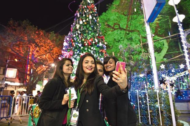 A group selfie at Park Street. Photographs by Indranil Bhoumik/Mint