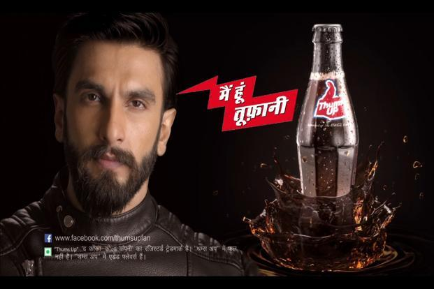 Coca Cola India-owned beverage brand Thums Up has rolled out a new integrated campaign featuring Bollywood actor Ranveer Singh. A screen grab of the ad.