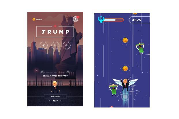 Jrump allows players to help Trump jump his way up to the outer space.