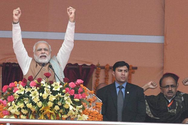 Prime Minister Narendra Modi at a rally in Lucknow. Photo: PTI
