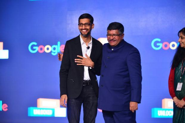 Sundar Pichai with Ravi Shankar Prasad, Union minister for law & justice, electronics & information technology at a Google event in New Delhi on Wednesday. Photo by Pradeep Gaur/Mint