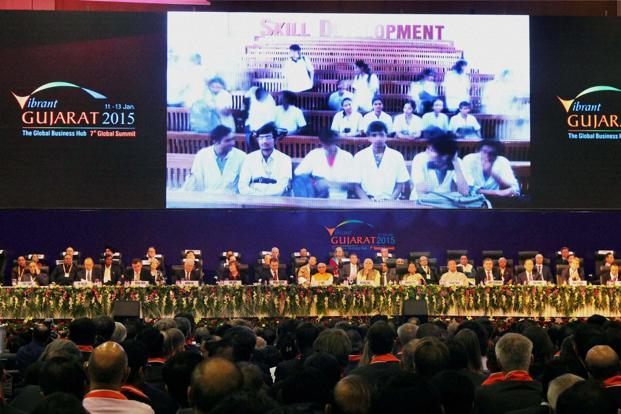 A file photo of Prime Minister Narendra Modi and other dignitaries at Vibrant Gujarat Global Summit 2015 in Gandhinagar, Gujarat .  Photo: PTI