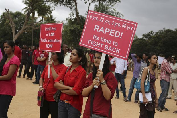 A file photo of a protest against alleged rape of a 6-year-old girl child in Bangalore in July 2014. Photo: AP (AP)