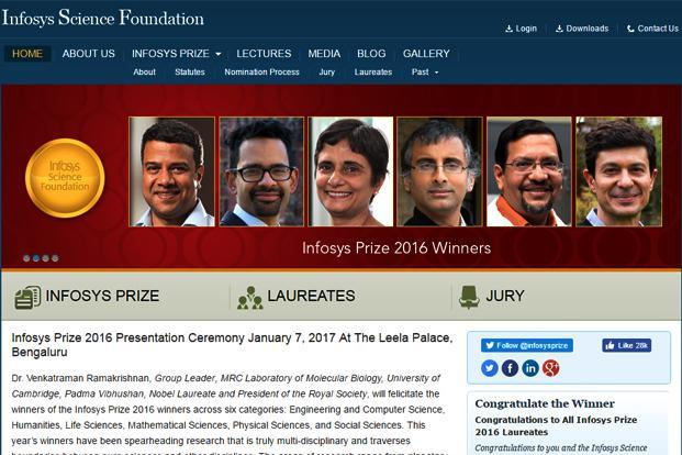 A screen grab of Infosys Science Foundation's website. (A screen grab of Infosys Science Foundation's website.)