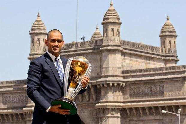M.S. Dhoni with the 2011 World Cup trophy. Photo: Getty Images