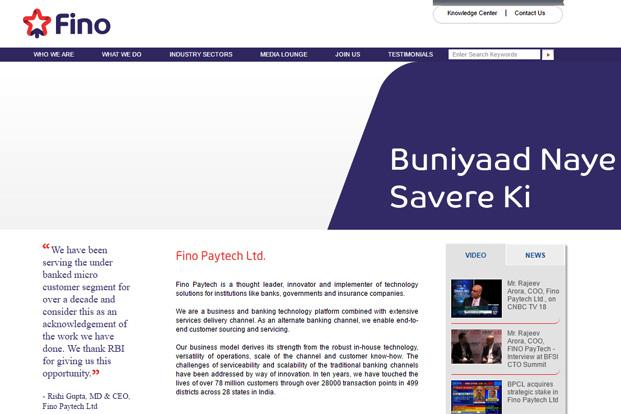 A screen grab of Fino Paytech's website.
