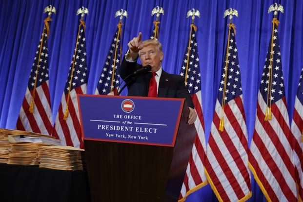 US president-elect Donald Trump at the news conference in New York on Wednesday. Photo: AP