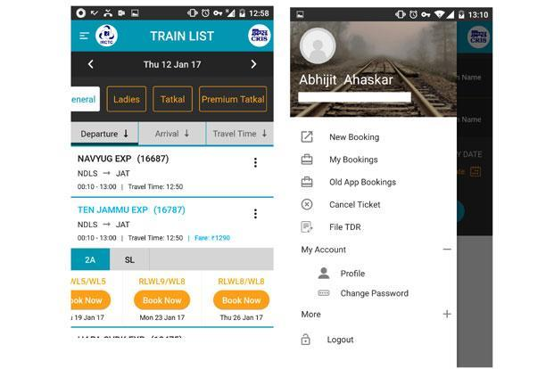 It shows the user's previous and current bookings, allows ticket cancellations and provides the option to file TDR from the smartphone.
