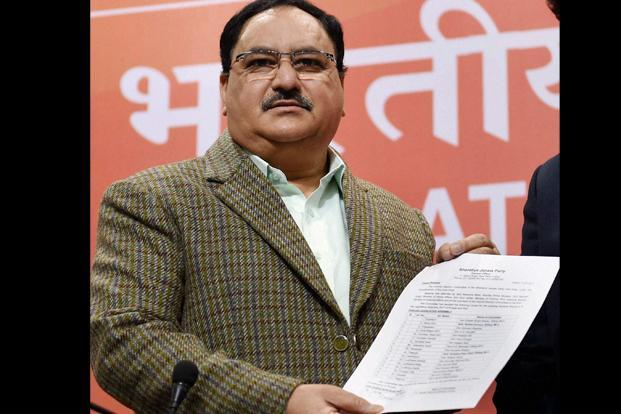 Releasing the list, J.P. Nadda, who is CEC secretary, said the BJP has given representation to all communities and added that it is considering putting up candidates for all the 40 seats. Photo: PTI